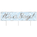 Say congratulations in a big way with this All Weather Jumbo It's A Boy! Yard Sign.  Made of corrugated plastic, includes 3 15 inch long spikes for mounting in the yard.