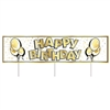 Let the neighborhood know there a birthday happening with this All Weather Jumbo Happy Birthday Yard Sign. Made of corrugated plastic, includes three 15 inch long spikes for mounting in the yard. Measures 47 inches wide and 11 3/4 inches tall.