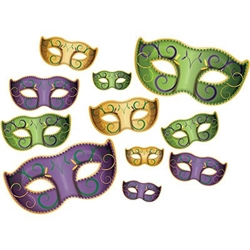 The Mardi Gras Mask Cutouts are made of cardstock and printed both sides. They're the traditional green, yellow, and purple color scheme and decorated with a swirl design. Made of cardstock. Measure 6 1/4 inches to 18 1/4 inches. 11 pieces per package.