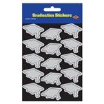 Silver Graduation Cap Stickers