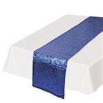 Looking for a classy, subtle and colorful way to add a splash of color to your table settings? This Sequined Table Runner in blue will add the touch of fun and excitement you're party deserves. Each runner is 11.25 inches wide by 6.25 feet long.
