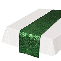 Add the colorful, classy and refining touch to your table tops with  this Sequined Table Runner in green.Guaranteed to add the touch of fun and excitement you're party deserves. Each runner is 11.25 inches wide by 6.25 feet long. Sold one per package.