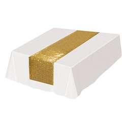 The Sequined Table Runner is made of fabric with gold sequins. Measures 11 1/4 inches wide and 6 1/4 feet long. Contains one per package.