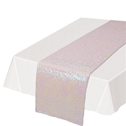 Add the colorful, classy and refining touch to your table tops with  this Sequined Table Runner in opalescent. Guaranteed to add the touch of fun and excitement you're party deserves. Each runner is 11.25 inches wide by 6.25 feet long. Sold one per pack.