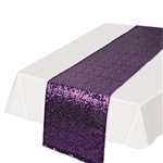Need a classic, subtle and colorful way to add a splash of color to your table settings? This Sequined Table Runner in purple will add the touch of fun and excitement you're party deserves. Each runner is 11.25 inches wide by 6.25 feet long.