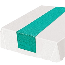 Add the colorful, classy and refining touch to your table tops with  this Sequined Table Runner in turquoise.Guaranteed to add the touch of fun and excitement you're party deserves. Each runner is 11.25 inches wide by 6.25 feet long. Sold one per package.
