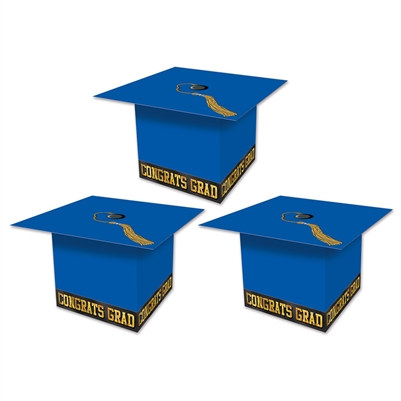 Blue Grad Cap Favor Boxes