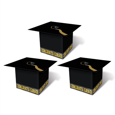 Black Grad Cap Favor Boxes