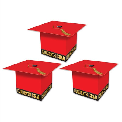 Red Grad Cap Favor Boxes