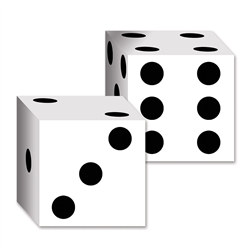 Dice Card Boxes (Two Per Package) are perfect for prize drawings at your next casino night event! Each cardstock box has black dots printed to resemble die. One side has a  pre-cut area to punch out and form a slot to insert tickets.