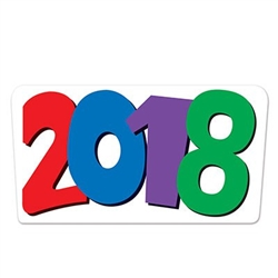 It's time to get ready for your first party of 2018! Our 2018 cutout sign is a necessary decoration for your New Year's Eve party! This sign will also work well for a 2018 graduation party.  Comes one colorful card stock 2018 sign per package.