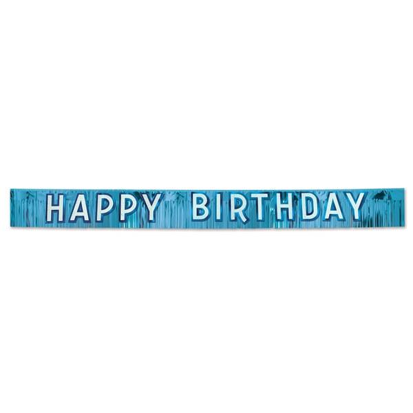 metallic blue happy birthday banner partycheap