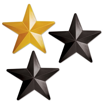 Black and Gold Plastic Stars (3 Stars Per Package)