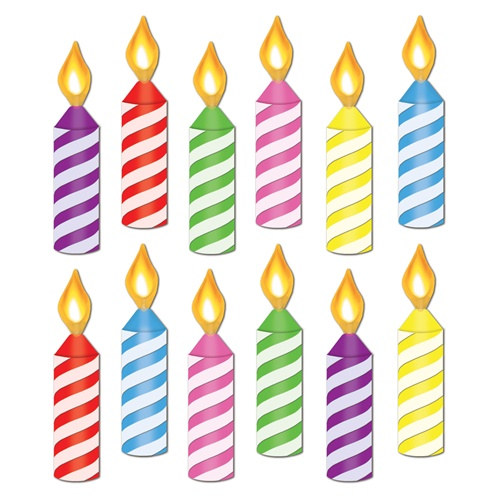 Mini Birthday Candle Cutouts 12 Pkg