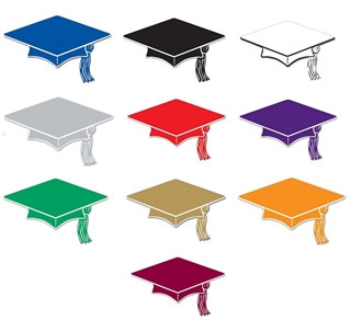 Pack of 10 Mini Grad Cap Cutouts (choose color)