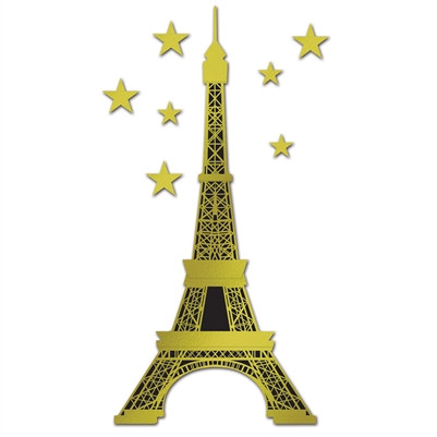 Jointed Foil Eiffel Tower with Stars