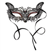 Faux Red Rhinestones Masquerade Mask