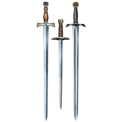 Take a stab at decorating with these Medieval Sword Cutouts. You'll receive three different swords per package. The Medieval Sword Cutouts are made to look like a realistic sword with a steel gray point and a leather handle and they are made of cardstock.