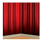 The Red Curtain Backdrop measures 4 feet tall and 30 feet wide. Printed on a thin sheet of flexible plastic, the rich, red colors of the elegant looking curtain will provide a dramatic background for photos. Perfect for award night events! One per package