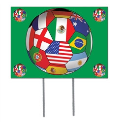 International Soccer Plastic Yard Sign