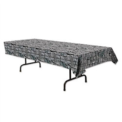 This Stone Wall Tablecover is perfect for medieval or renaissance theme birthday parties. It measures 4 1/2 feet wide by 9 feet long and the awesome design is printed on plastic. Decorate and protect at the same time with this product! One per package.