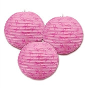 Pink Ribbon Paper Lanterns (3 Per Package)