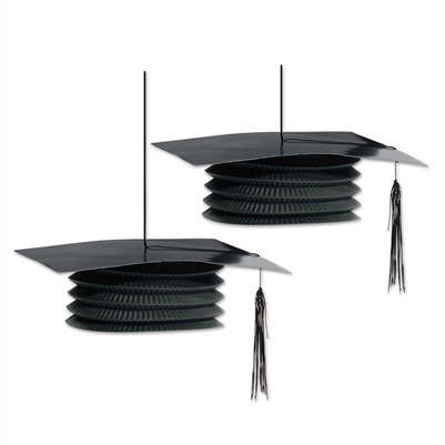 Black Graduation Cap Paper Lanterns (2 Per Package)