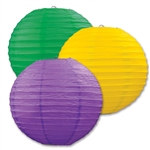 Yellow, Green, and Purple Paper Lanterns (3/Pkg)