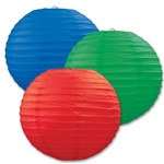 Red, Blue, and Green Paper Lanterns (3/Pkg)
