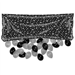 Pkgd Plastic Balloon Bag-Black and Silver (balloons NOT included)
