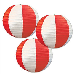 Red & White Stripes Paper Lanterns