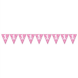 1st Birthday Pennant Banner (Pink)