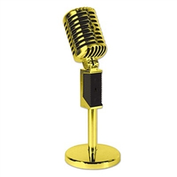 The Plastic Vintage Microphone - Gold is a great tabletop decoration for your next 50's or rock 'n roll party. This realistic and posable decoration stands up to 8.5 inches tall. Also available in silver!