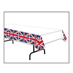 This Union Jack Tablecover measures 54 inches by 108 inches and is plastic by nature. This tablecover is not only a great party decoration, but it's also great at protecting your tables, just in case someone had a little too much tea! One per package.