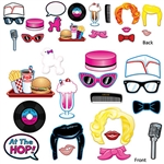 Take some fun photos from your 1950's themed party with these fun card stock photo props. Just hold up one of these brightly printed designs, and have someone take your picture! Even the grumpiest greaser will smile! 17 photo props per pack.
