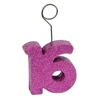 Glittered 16 Photo/Balloon Holder