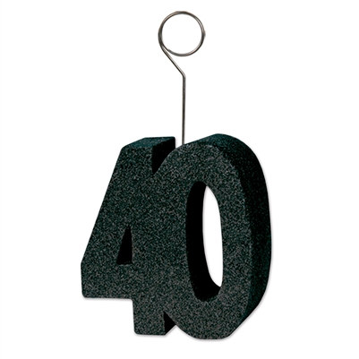 Black Glittered 40 Photo/Balloon Holder (6/Pkg)