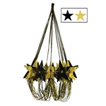 This black and gold Star Chandelier is perfect for your next Hollywood theme party or awards night. The metallic properties of the chandelier give it some nice glimmer and shine. It measures 35 inches and comes one black and gold Chandelier per package.