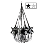 Decorate for a Hollywood themed party with this black and silver Star Chandelier. It measures 35 inches and once it is completely assembled, you'll have an exquisite chandelier for your extravagant party. Comes one Star Chandelier per package.