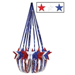 For a 4th of July party, this red, white and blue Star Chandelier is perfect for the occasion. It measures 35 inches and it's extravagant to say the least. It does require some minor assembly, but don't worry, it's nothing too complicated!