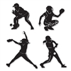 These Softball Silhouette Cutouts leave no doubt about your favorite sport!  A catcher, pitcher, batter and shortstop make up these realistic cutouts. Four (4) Softball Silhouette Cutouts come per package and are all printed on both sides.