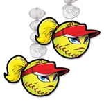 Celebrate your victory and throw the team a party. Decorate your party area or locker room with these Softball Danglers.  Two (2) 30 inch long Softball Danglers come per package and are made from cardstock and foil material. Printed on both sides.