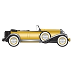 This Jointed Great 20's Roadster is a great wall decoration that will bring about plenty of nostalgia at the party. This cutout measures 4 1/4 feet long and the gold and black colors give it plenty of elegance and appeal. Comes one per package.