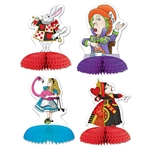 These Alice in Wonderland Mini Centerpieces feature some of the favorite characters from the movie and each one stands five inches tall. They come completely assembled, open full around and have the design printed on both sides. Comes four per package.