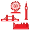 The London Silhouettes are printed in red on a white double sided cardstock material, making for great wall or door decorations.   Four different silhouettes included in each pkg, ranging in size from 11 inches to 16 inches.