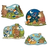 Your woodland friends are out and ready to party! Camping in the woods, roasting marshmallows, enjoying a hike and relaxing in the water are the scenes you will see on these cutouts! The cutouts measure approximately 15-16 inches and come four per package