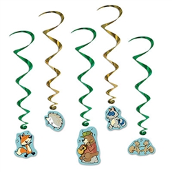 Bring the woodland friends from the outdoors into your living room for an awesome party! These Woodland Friends Whirls are an excellent hanging decoration for a children's birthday party or cub scout meeting! There are five whirls in the package.