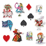 Decorate your home, classroom or office with these Alice in Wonderland Cutouts to really get into the party mood. Thanks to these cutouts, you can have Alice, the Mad Hatter, the Cheshire Cat and the Queen of Hearts at your party. Comes 12 per package.