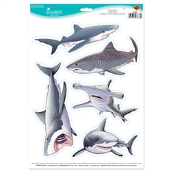 The Sharks Peel 'N Place are shark stickers that look just like some of the breeds you would see an ocean, including the great white and hammerhead shark. This stickers are removable and will adhere to most smooth surfaces. Comes five stickers per sheet.
