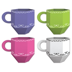 These Teacup Favor Boxes are perfect for an Alice in Wonderland theme party. These colorfully printed card stock tea cup favors, can be filled with goodies for everyone to enjoy!  Comes three bright colored pieces per package. Reverse side is white.